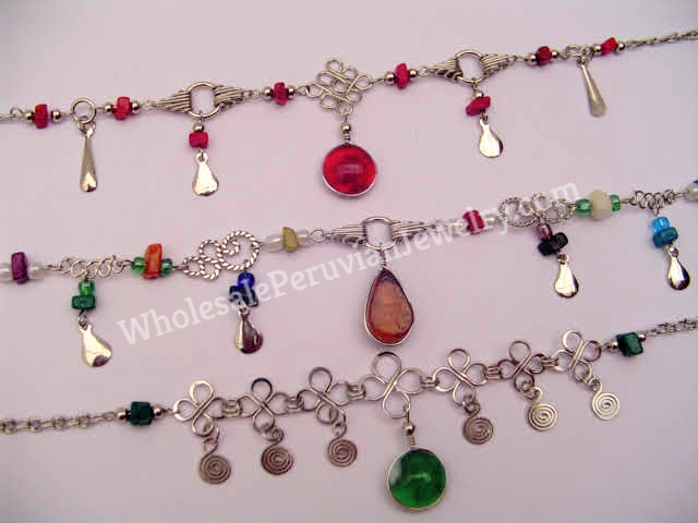 Natural stones Peruvian Artisan Jewelry: Handcrafted Slave Anklet with Alpaca Silver /& beads Morano Glass